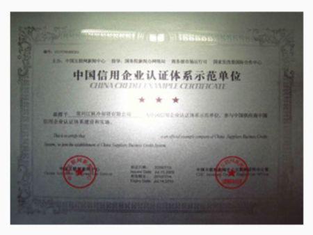 中国信用企业 认证体系示范单位