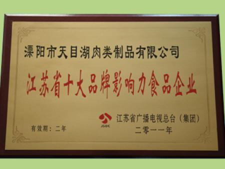 江苏省十大品牌影响力食品企业