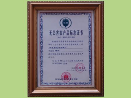 无公害农产品标志证书