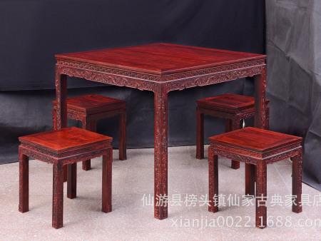仙家紫檀 古典家具 红木家具 小叶紫檀八仙桌 印度小叶紫檀家具