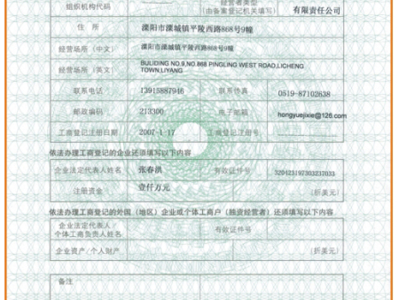 贸易登记表