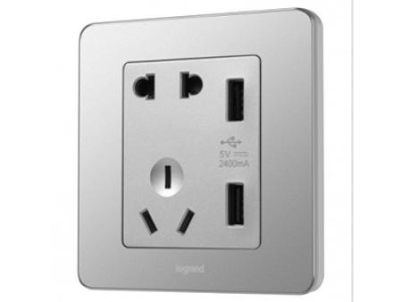 2400mA USB充电五孔插座_醇砂钢