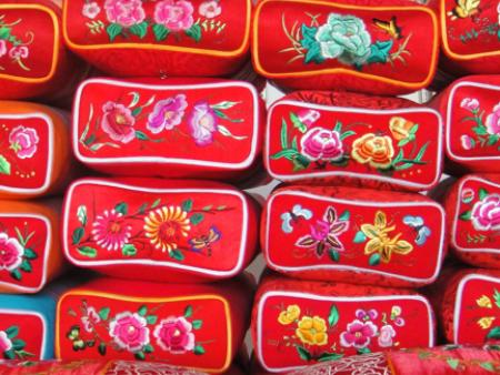 繡花蕎皮枕
