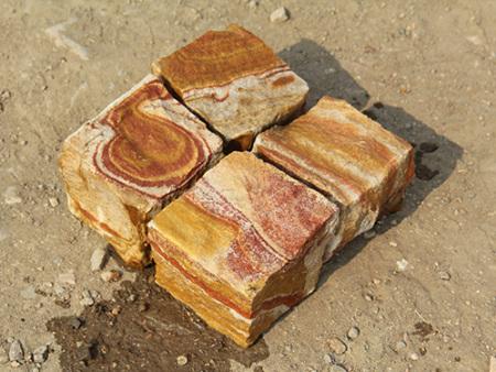 黄砂方块石_茶银河石材_彩虹砂方块石