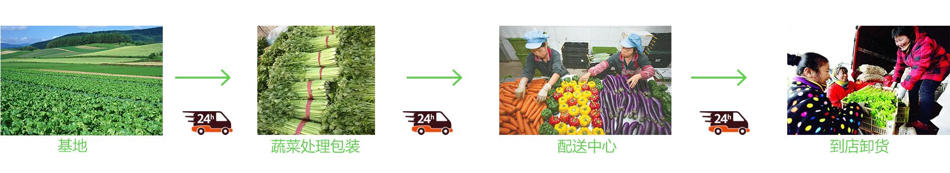 服务流程:基地-蔬菜包装-配送中心-到店卸货。