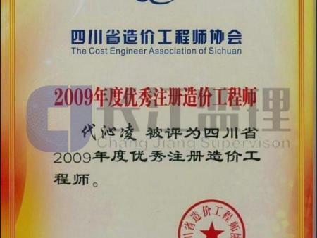 2009年度优秀注册造价工程师证书-代沁凌