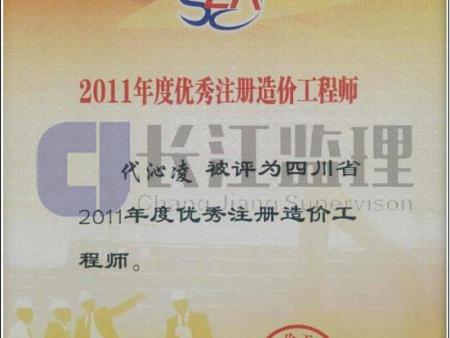 2011年度优秀注册造价工程师证书-代沁凌