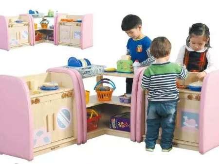 西安碧海彩立方注册教学设备有限公司-陶乐幼儿90度转角柜,幼儿厨房柜(灶台组,洗衣台组)