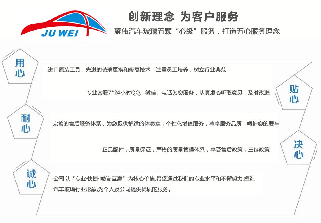 重庆聚伟汽车玻璃五颗心级服务,打造五星服务理念。重