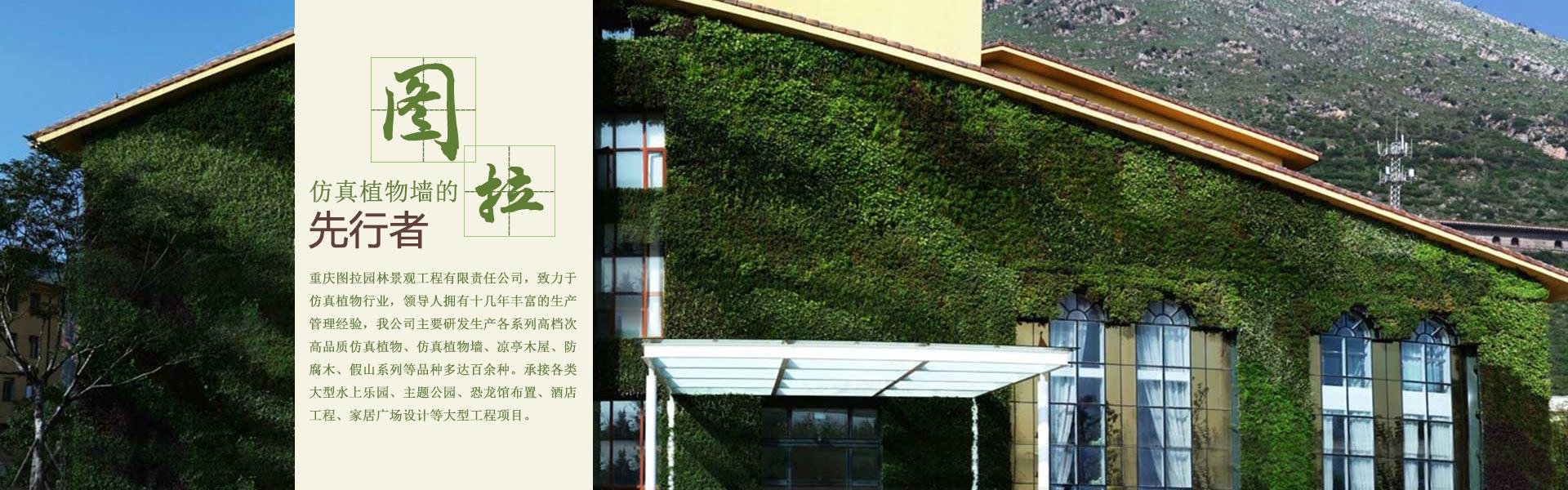 重庆图拉园林景观工程有限责任公司主要研发生产各系列高档次高品质仿真植物、仿真植物墙、凉亭木屋、防腐木、假山系列等品种多达百余种。