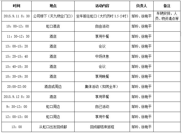 2015年度第一期员工活动安排表