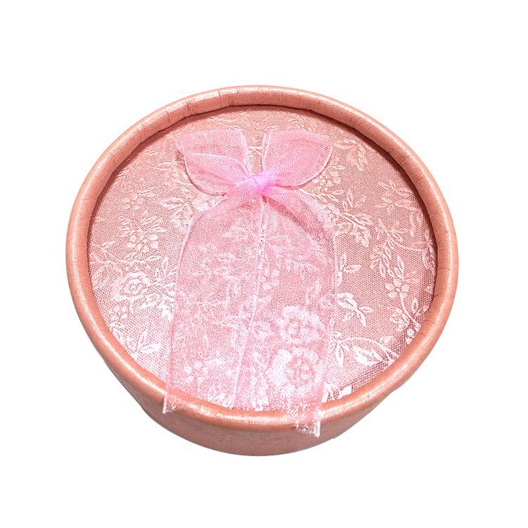 粉紅色 蝴蝶結圓形飾品盒|耳釘盒-四會市富興紙品首飾盒加工場