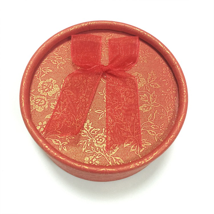 紅色 蝴蝶結圓形飾品盒|耳釘盒-四會市富興紙品首飾盒加工場