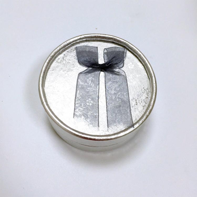 銀色 蝴蝶結圓形飾品盒|耳釘盒-四會市富興紙品首飾盒加工場