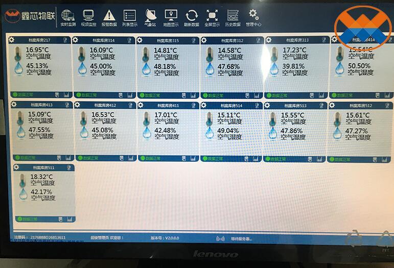 西南财大档案馆温湿度监控系统PC数据显示