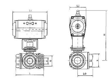 PSRQ614F内螺纹气动三通球阀