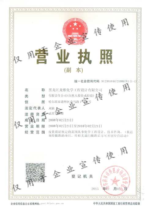資質證書|單頁-黑龍江龍維化學工程設計有限公司