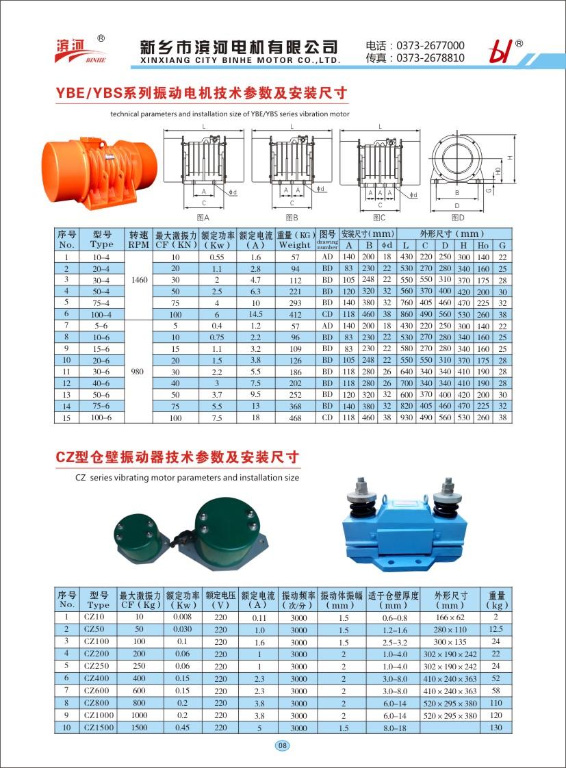 YBE/YBS系列振動電機