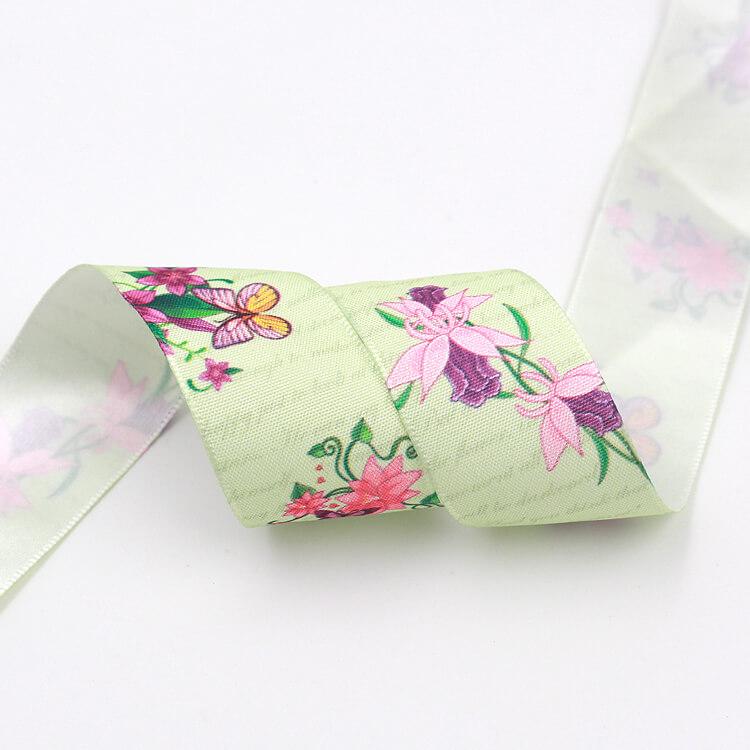 热升华清新春季花卉主题缎带|热转印-厦门鹭得织带饰品有限公司