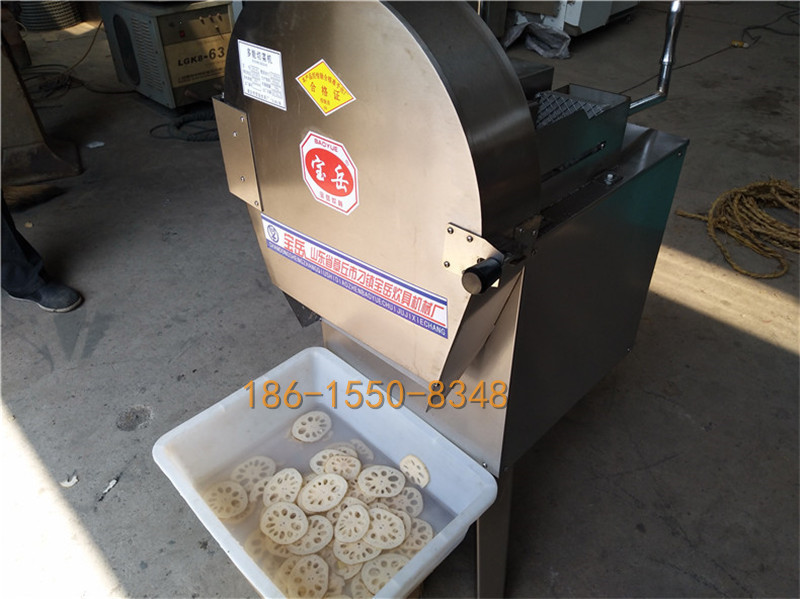 CHD40型莲藕切片机视频定向切藕片机不易碎成型好 CHD40型推杆式切菜机-济南宝岳食品机械有限公司