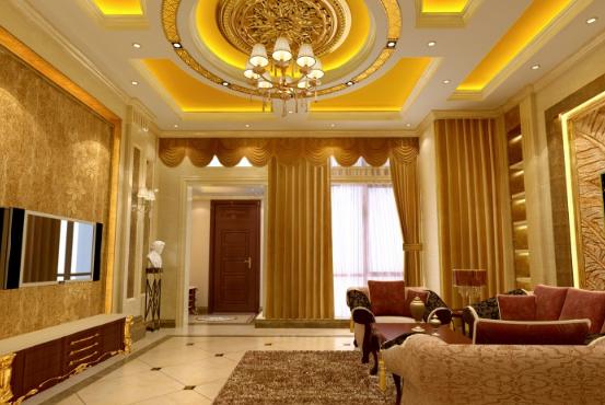 别墅客厅餐厅圆形吊顶装修设计