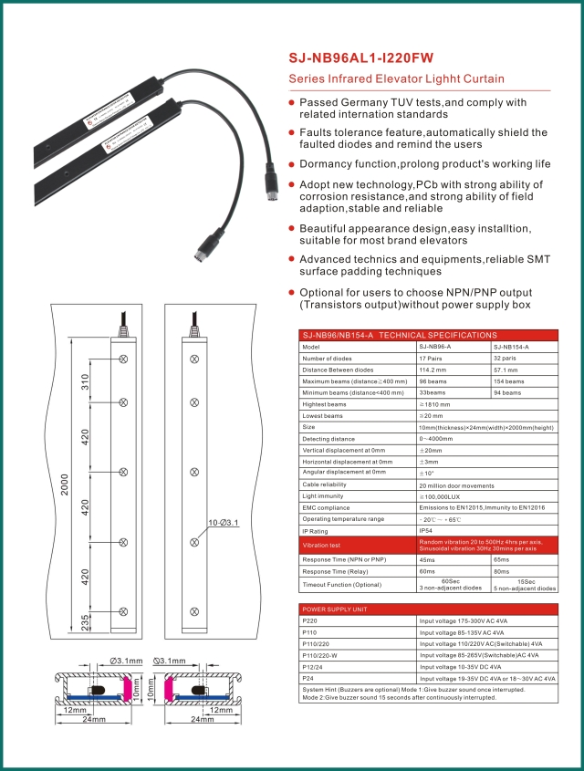 网站新 SANJIN elevator light curtain SJ-NB96AL1-I220FW elevator door Photocell.........jpg
