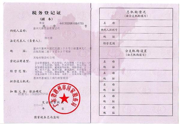 企業資質|企業資質-惠州ag亚游真人實業有限公司