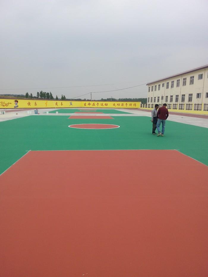 南召石門小學籃球場已完工 謝謝領導們的支持與信任 工程案例-南陽龍祥化工科技有限公司