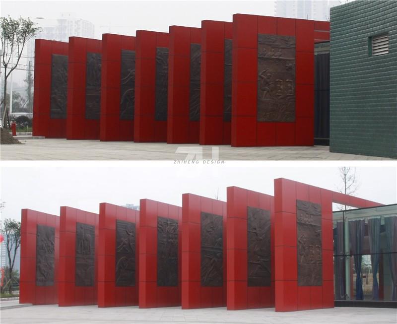《全民运动》 铜浮雕锻造 高度6m